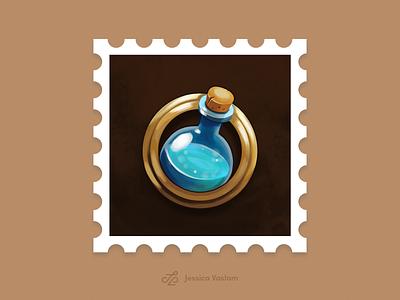RandomStamps #6 brushes photoshop mana potion game design game art postage randomstamp postal illustration potion stamp design stamp