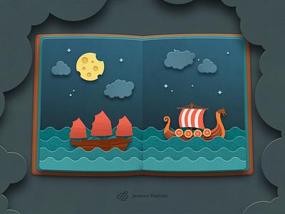 Sea route photoshop book illustration sailing ship ship papercraft papercut paper cut sea book illustration