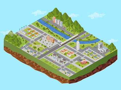Illustration For An App medellín app landscape isometric vector illustration