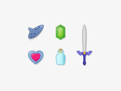 Legend Of Zelda icons texture vector nintendo sword bottle heart rupee ocarina zelda icon illustration