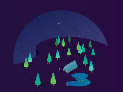 Camping under the stars tree stars forest vector illustration design