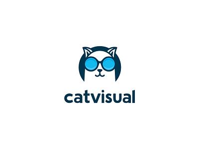 Catvisual Logo typography cat mark symbol logo design branding identity logo