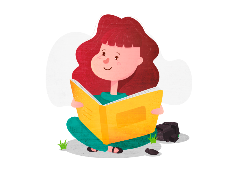 Girl reading reading book texture people girl vector illustration character design character