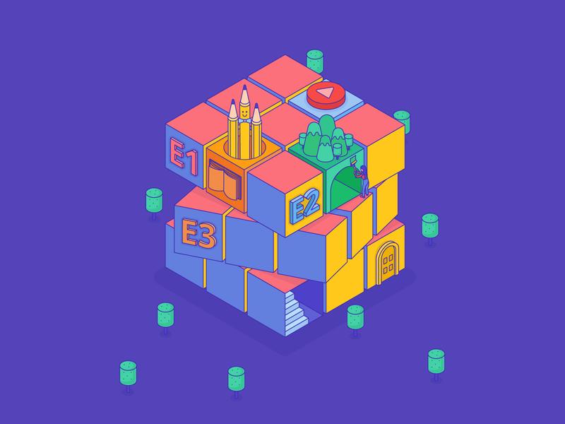 Cube Illustration isometric cube trees button design colorful interactive design flatdesign vector isometric illustration isometric color rubik cube illustration