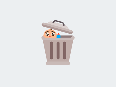 Baby in Trash Can character illustration vector