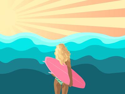 Surfer girl typography vector illustration design