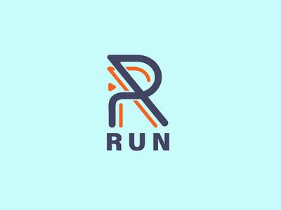 RUN Logo abstract letter simple logo minimal logo lettering logo r logo run logo race
