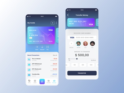 My Cards&Transfer Money Page color graphic design design mobile ux money transfermoney transaction wallet superapp ui