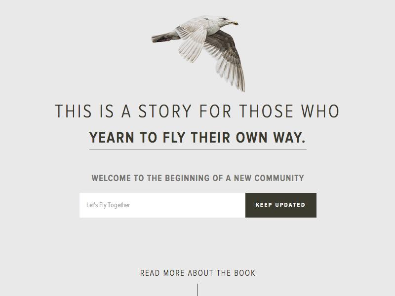 Jonathan Livingston Seagull web photoraphy publishing literature community branding sign-up