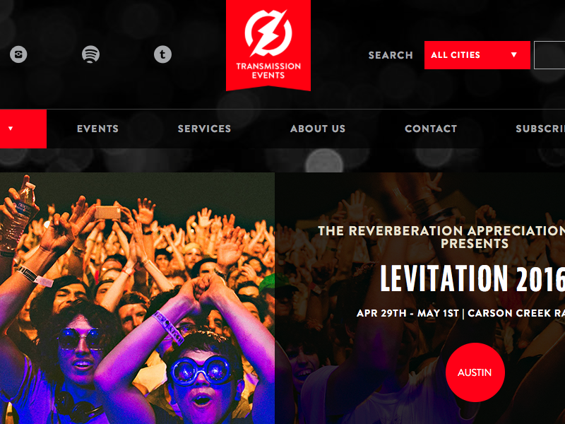 Transmission Events redesign card ui austin events music responsive redesign