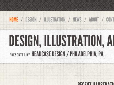 Headcase Design new header portfolio redesign league gothic