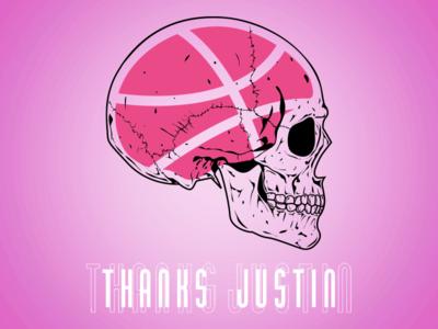 Thanks Justin Barr - Debut Shot dribbble brain skull