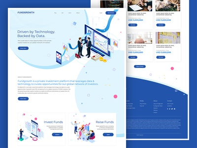 Fundgrowth Website Design uidesign responsive website responsive fundraiser funding fundraising blue website blue ux design ui design ux ui webdesign design website gowth fund fundgrowth