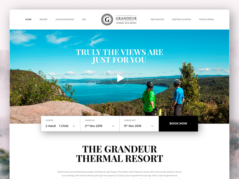 Grandeur Thermal Resort & Spa Website Design user interface ui interface spa hotel new zealand resort taupo interactive responsive design website webdesign ux ui