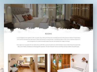 Rooms listing page design for Coral Resort And Spa online booking bed interactive hotel rooms room booking himachal pradesh india manali spa coral resort responsive website web design ux design ui design design page listing rooms