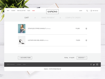 Cart Page Design for Kapsons ecommerce woocomerce shop lifestyle fashion interactive online shopping shopping kapsons responsive design website webdesign ux ui