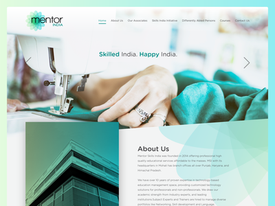 Mentor India company branding ui design minimal skill development interactive responsive cleab webdesign website ux ui development skill india mentor mentorindia