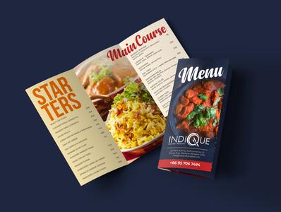 Tri Fold Food Menu Design branding thailand bangkok indian food india cuisine indique trifold food and drink graphics design menu food