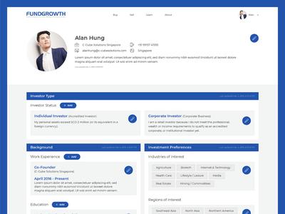 Fundgrowth Investor Dashboard Screen Design design ui design fund interactive responsive startups fundraising user dashboard investor investment growth funding webdesign website ux ui fundgrowth