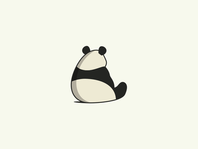 Pondering Panda sitting introvert thinking melancholy ponder sad backside behind bamboo animal bear panda