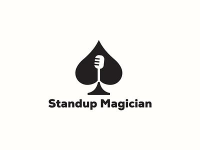 Standup Magician poker music sing microphone joker magic trick casino gamble cards spade comedy
