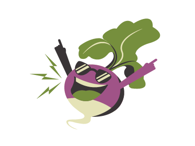 Turnip rocking out! character turnip logo illustration dance party rocking out music cool