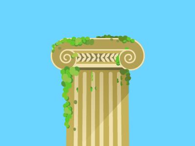Ionic Column classic art illustration column flat illustration ionic greek flat architecture