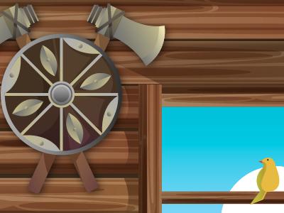Background + Bird background app game bird shield viking wood texture illustration vector