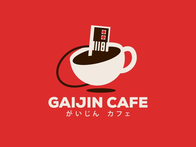Gaijin Cafe - Nintendo + Cafe game cup branding logo design flat retro nes nintendo coffee cafe
