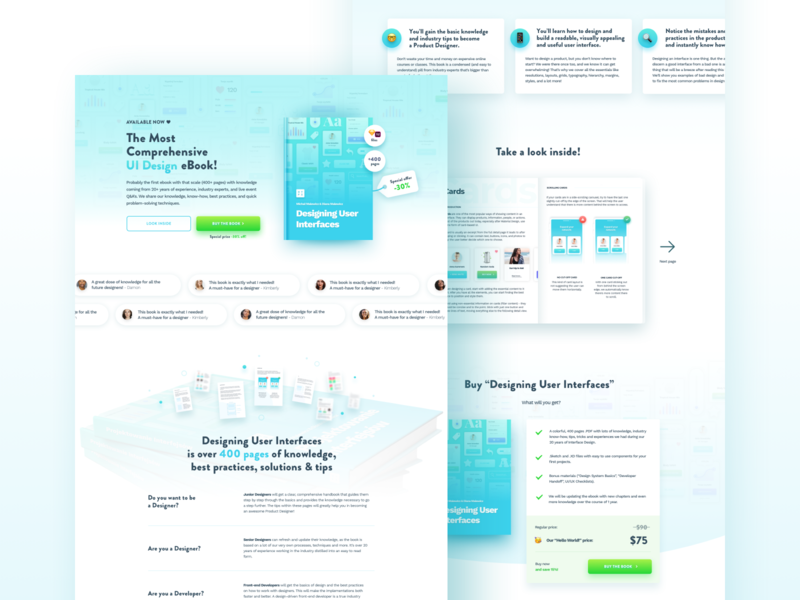 Designing User Interfaces - Landing Page design buy webdesign landing site website page web ebook learn ux ui interface interfaces user designing design book