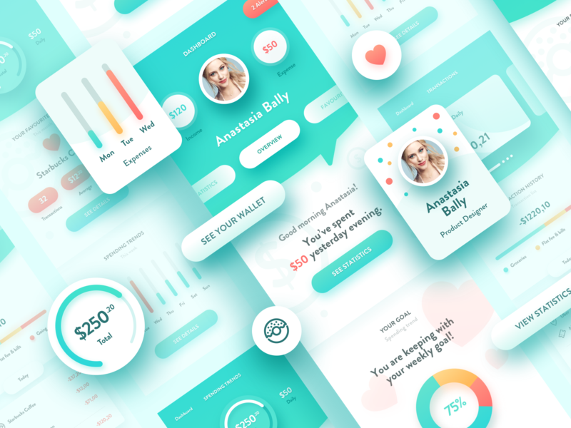 Wallie - Personal finances app for teenagers interface design savings business payment pay money fintech personal colorful friendly ux ui teenager teen wallet ui app wallet finance finances