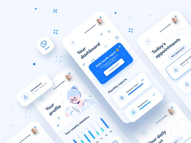 DocApp - intranet healthcare app for doctors blue application care medical doctor healthcare health social illustration user ios interface app ux ui design