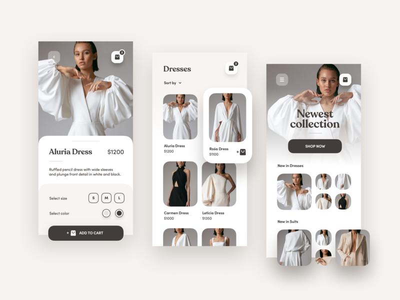 Mobile UI Design for a fashion mcommerce mobile app business sales sale retail luxury clothes fashion design ux ui shopping shop mcommerce ecommerce