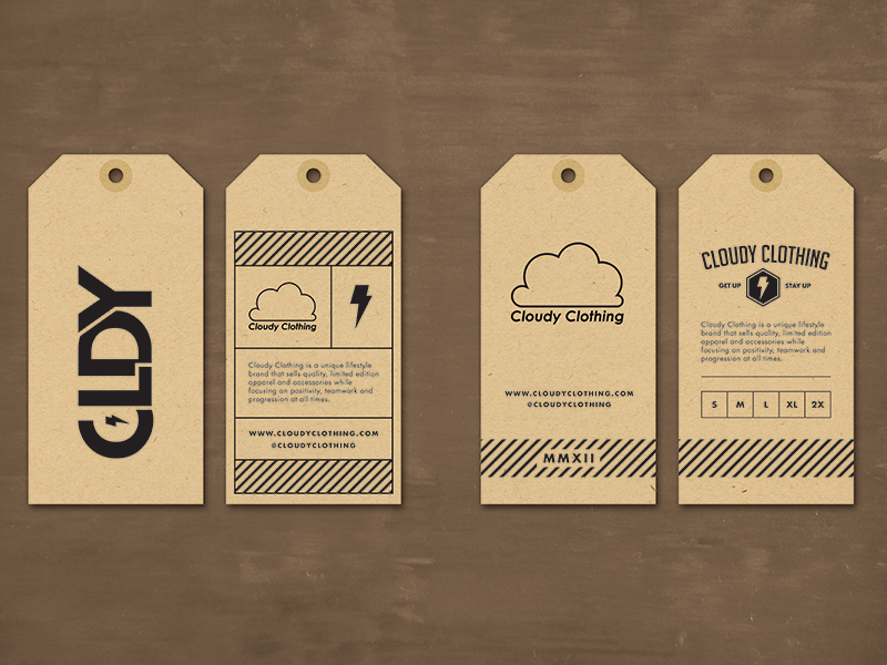 Cloudy clothing hang tag by jordan mahaffey dribbble for Clothing identification labels
