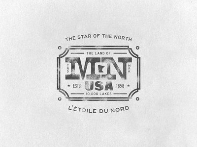Minnesota Warm Up Series #12 minnesota warm up exercise series mn usa badge the star of the north texture type paper letterpress