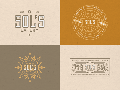 Sol's Eatery branding logo design typography badge container texture paper type honest artisan wheat