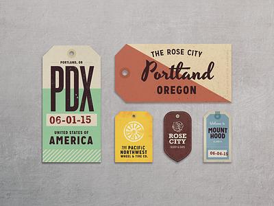 Portland Bound!  portland travel hang tags type typography badge lockup mount hood pdx rose city