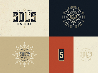 Sol's Eatery Iteration Process sols eatery restaraunt branding identity logo badge type lockup