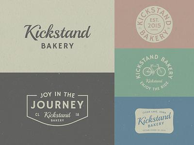 Kickstand Bakery typography badge logo branding journey biking bakery kickstand bakery