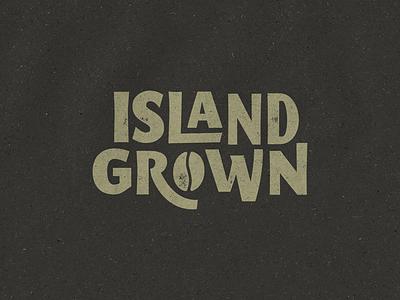 Island Grown island beach coffee bean lock up custom type typography island grown coffee