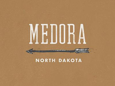 Medora texture greasy spoon font typography westward arrow north dakota medora