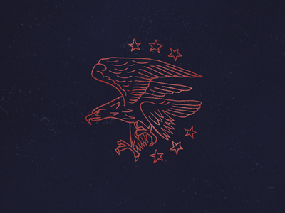Eagle line drawing illustration america stars westward eagle