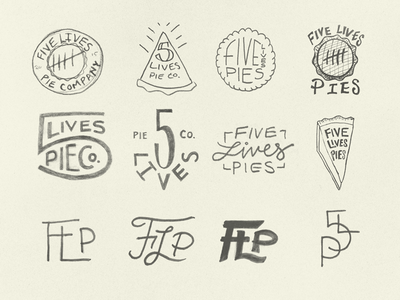 Five Lives Pies Sketches 2 concepts sketch badge logotype identity sketches branding logo