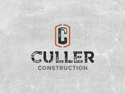 Culler Construction Lock up graphic design icon type typography branding logo