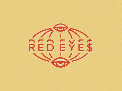 RED EYE$ Logo  globe typography eye illustration icon branding logo