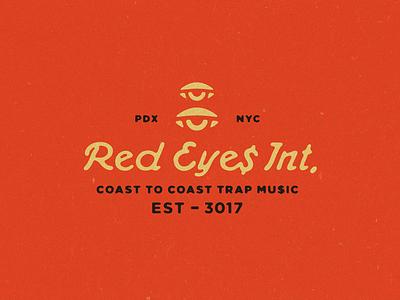 RED EYE$ Int. lock up typography icon eye logo branding