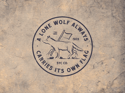 Lone Wolf illustration lockup type badge wolf