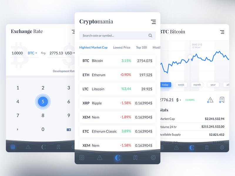 CyrptoMania App Design currency cyrpto coin market monitoring calgulator light finance bitcoin app mobile