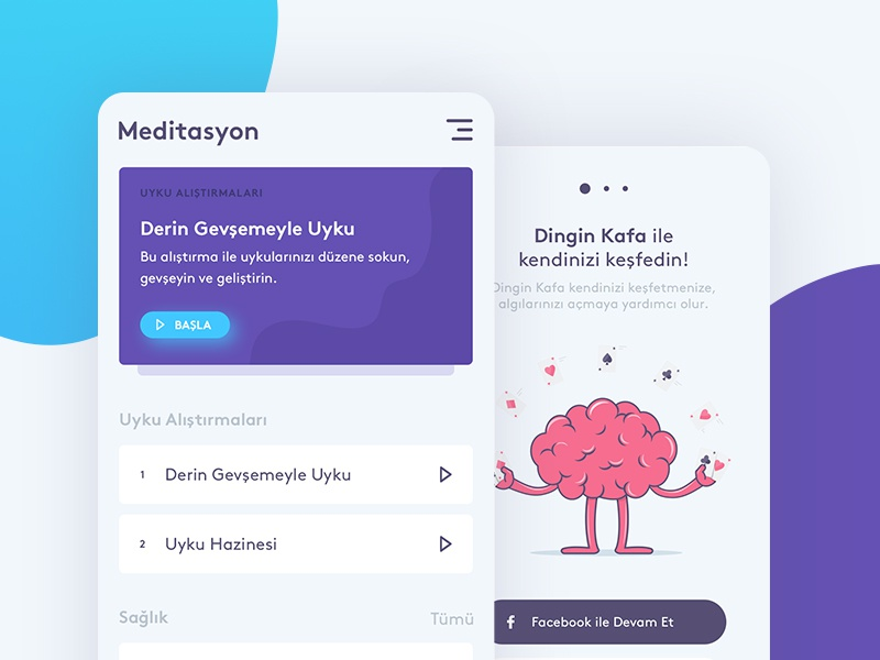Dingin Kafa Meditation App Design walktrough playlist brain meditation mobile app