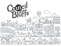 Council Bluffs 100 Block Parties Illustration